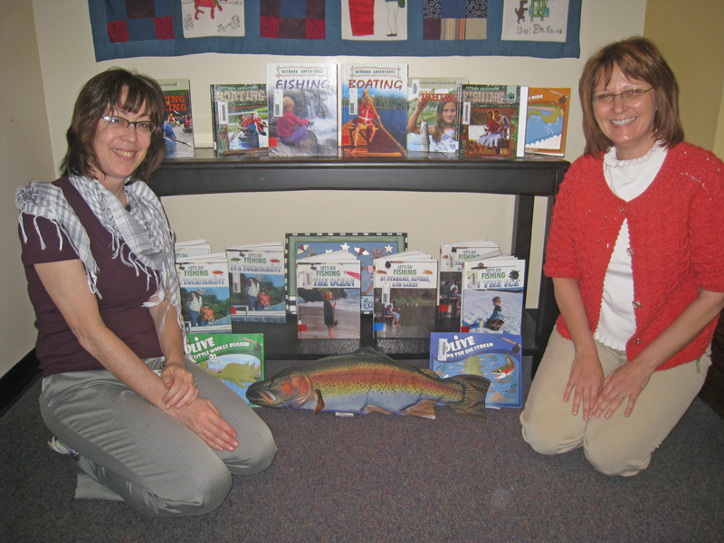 Fishing book display at Gracemor Elementary School, KC Missouri