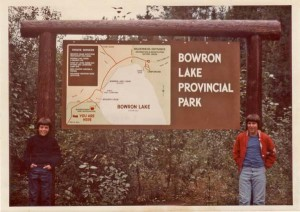 Me on the left, and my friend Mark Aldape at the entrance to Bowron Lakes Provincial Park